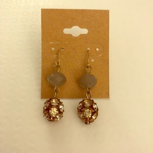 Gold tone Rhinestone drop earrings